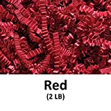Crinkle Cut Paper Shred Filler (2 LB) for Gift Wrapping & Basket Filling - Red | MagicWater Supply