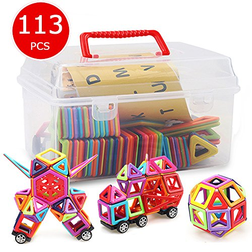 Banne Magnetic Blocks Storage Box,113PCS Magnetic Tiles Kids, Magnetic Building Blocks Set Boys Girls, Magnet Tiles Educational,Magnetic Toys Toddlers