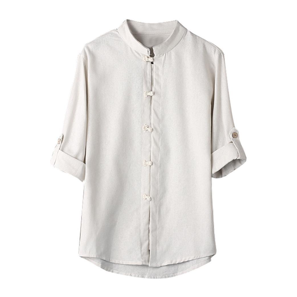 Amlaiworld Uomo classico stile cinese Kung fu camicia top Tang Suit 3/4 manica camicetta Amlaiworld-2