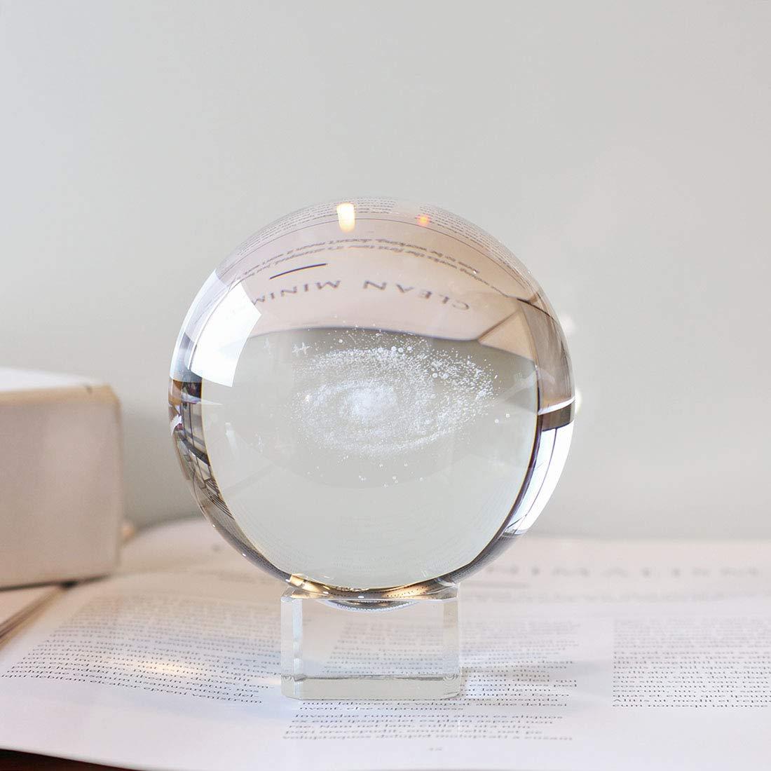 Inconnu H /& D Galaxy Boule de Cristal Boule de Verre /écran Globe Presse-Papier Gu/érison m/éditation Boule avec Support Transparent pour Creative FENGSHUI Cadeau