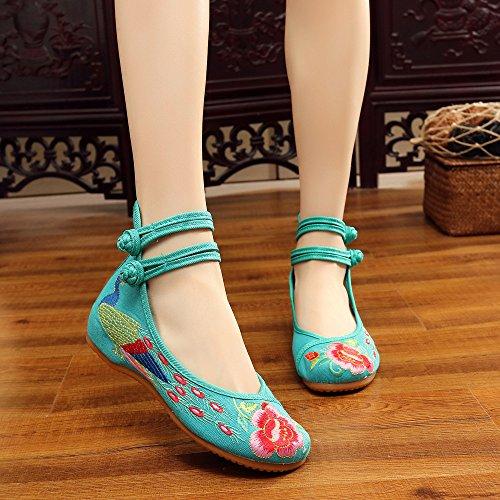 Danse Vertes Libre Femmes Paon Brodes Ethniques Chaussures Bohmiennes 7wnxI1qcSz