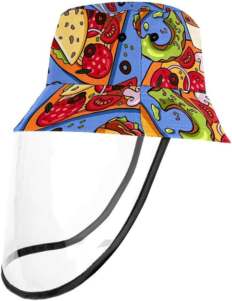 Colorful American Fast Food Pizza Hotdog Cap UV Sun Detachable Hat Bucket Caps for Women and Men