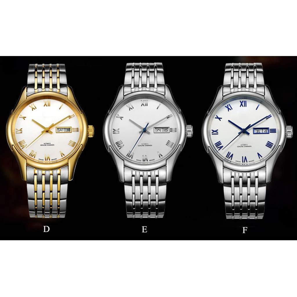 A Mechanical Watches vattentät automatisk mekanisk skelett-multifunktions-armbandsur, kalender business casual enkel herrklocka – flerfärgad F
