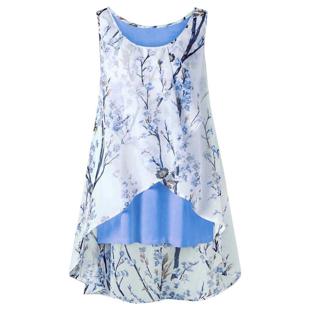 LIM&Shop Women Plus Size Summer Tank Top Flowy Camisole Shirt Sleeveless T-Shirt Ruffles Vest Print Casual Loose Tunic Blue