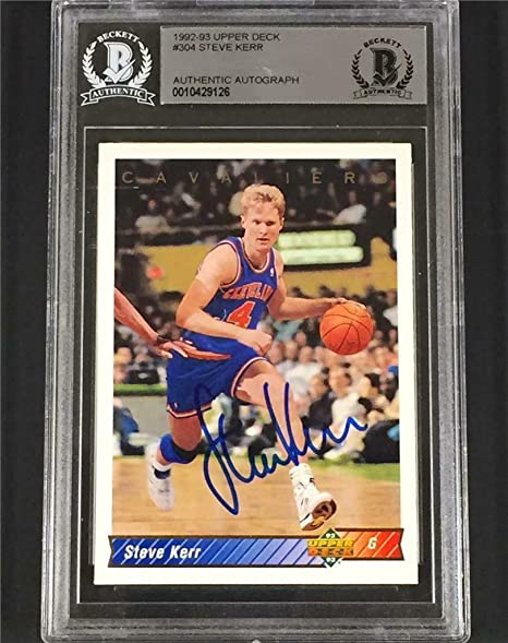 4f5582ec709 STEVE KERR signed 1992-93 CAVALIERS CAVS Autograph Auto card ~BGS BAS -  Upper Deck Certified - Basketball Autographed Cards at Amazon s Sports  Collectibles ...