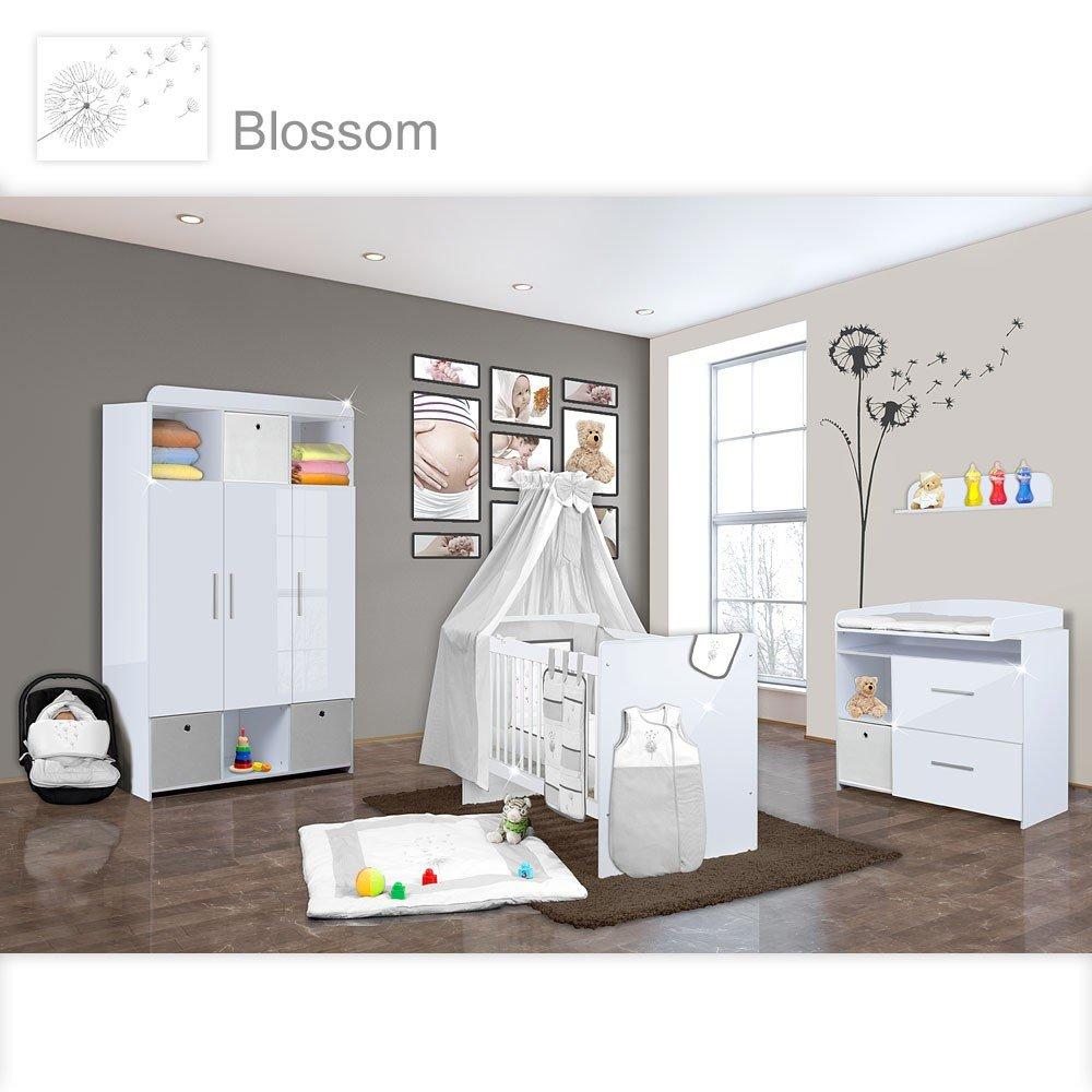 Babyzimmer Mexx in Weiss Hochglanz 20 tlg. mit 3 türigem Kl. + Blossom Grau