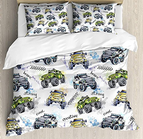 Cars Bedding Sets, Hand Drawn Watercolored Monster Trucks Enormous Wheels Off Road Lifestyle, 3 Piece Duvet Cover Set Quilt Bedspread for Childrens/Kids/Teens/Adults, Yellow Lavander Blue, Full (Monster High Bedspread)