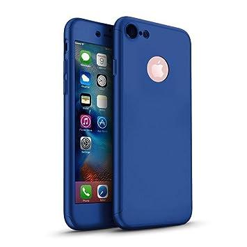 MajoCase Funda iPhone 6 6s Plus 360 Grados Integral Para Ambas Caras + Protector de Pantalla de Vidrio Templado,[ 360 ° ] [ Azul ] Case/Cover/Carcasa ...