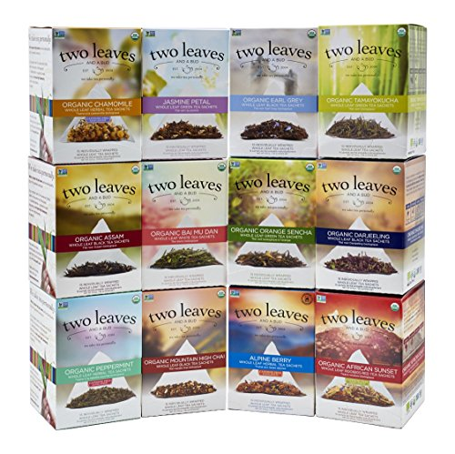 Two Leaves and a Bud Retail Box Starter Kit, 2 Boxes Each of 12 Teas, 24 Count by Two Leaves and a Bud