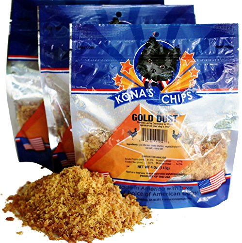 Cheap 3 Pack – KONA'S CHIPS GOLD DUST 4 OZ Chicken Jerky Sprinkles Food Topper and Dog Appetite Stimulant Made in the USA only, Chemical and Grain FREE, Healthy & Safe for Your Dog