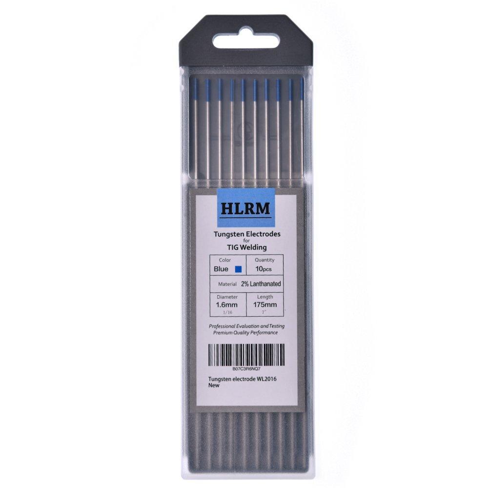 HLRM TIG Welding Tungsten Electrode 2/% Lanthanated Tungsten 1//16 x 7 10 Pcs Blue, WL2016