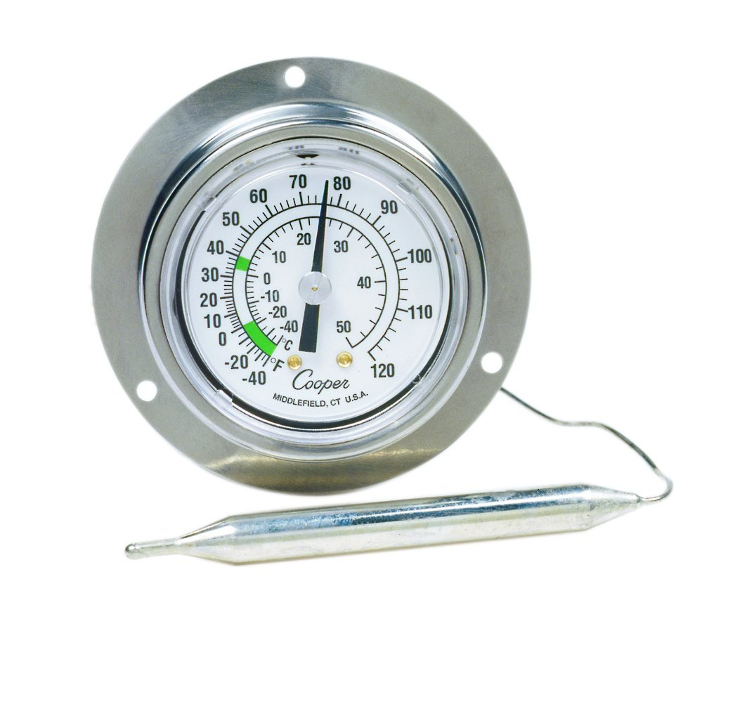 Cooper-Atkins 6812-02-3 Vapor Tension Panel Thermometer with Back Flange, NSF Certified, -40/120°F Temperature Range