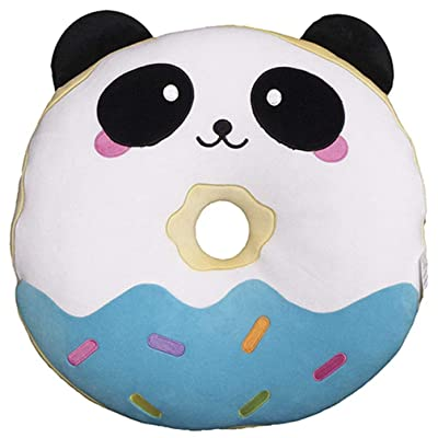 "iscream Vanilla Scented Kawaii Panda Donut Embroidered 8.5"" x 9"" Mini Fleece Pillow: Home & Kitchen"
