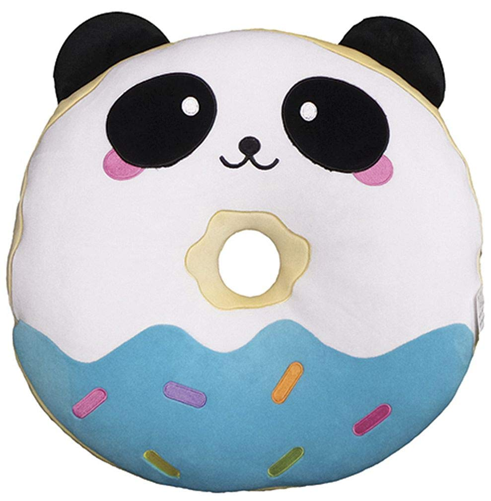 iscream Vanilla Scented Kawaii Panda Donut Embroidered 8.5'' x 9'' Mini Fleece Pillow by iscream