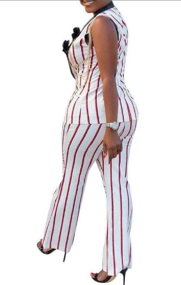 Alion Womens Stripe Button Shirt and Long Pants 2 Piece Outfits Set