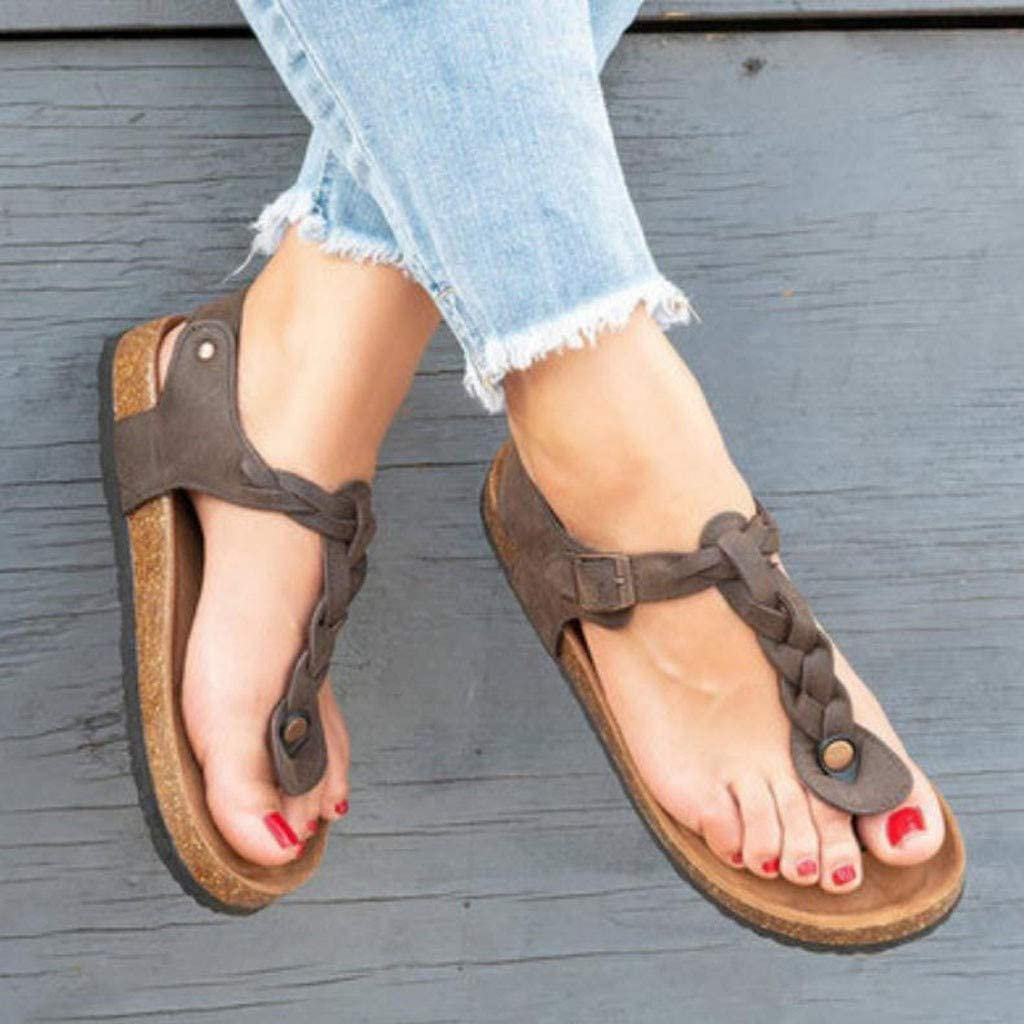 Large Size Sandals Buckle Strap Flat Bottom Toe Ladies Sandals Mallcas Summer Beach T-Strap Sandals Open Toe Sandals