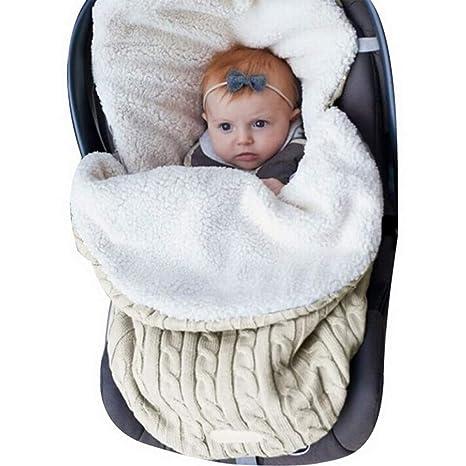 Manta Swaddle Envoltura Bebé Recién Nacido Nibesser Manta de Punto Grueso Suave y Cálida Manta Saco
