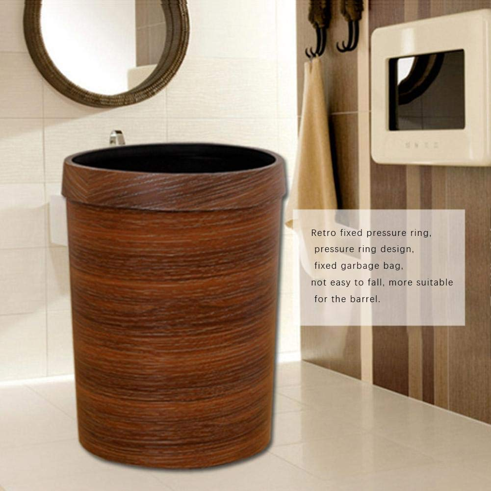 Luerme 10L Trash Can Wastebasket Rubbish Bin Plastic Bucket Garbage Bin with Wood Grain for Bathroom Office Kitchen by Luerme (Image #7)