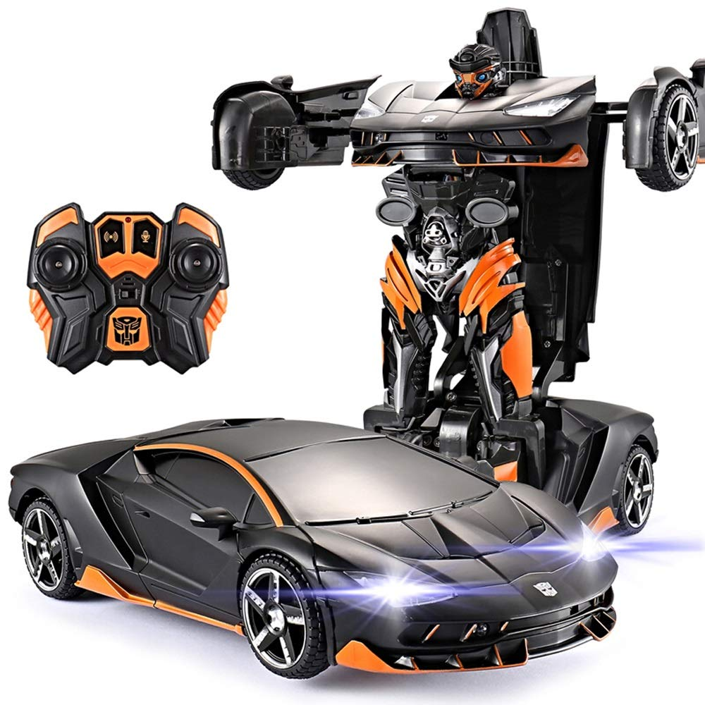 Black Kikioo Transformer Remote Control Car Toys Largebuumbleebee VoiceActivated Induction Deformation Autobot Model Rechargeable Car Remote Robot Intellectual Bots The Perfect Gift for Christmas Day