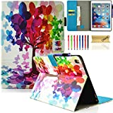 iPad Pro 9.7 2016 Case with Stylus Pen, Dteck Lovely Cute Cartoon Smart Wallet Case with [Auto Sleep Wake] PU Leather Flip Protective Stand Cover for Apple iPad Pro 9.7 inch 2016 Model,Butterfly Tree