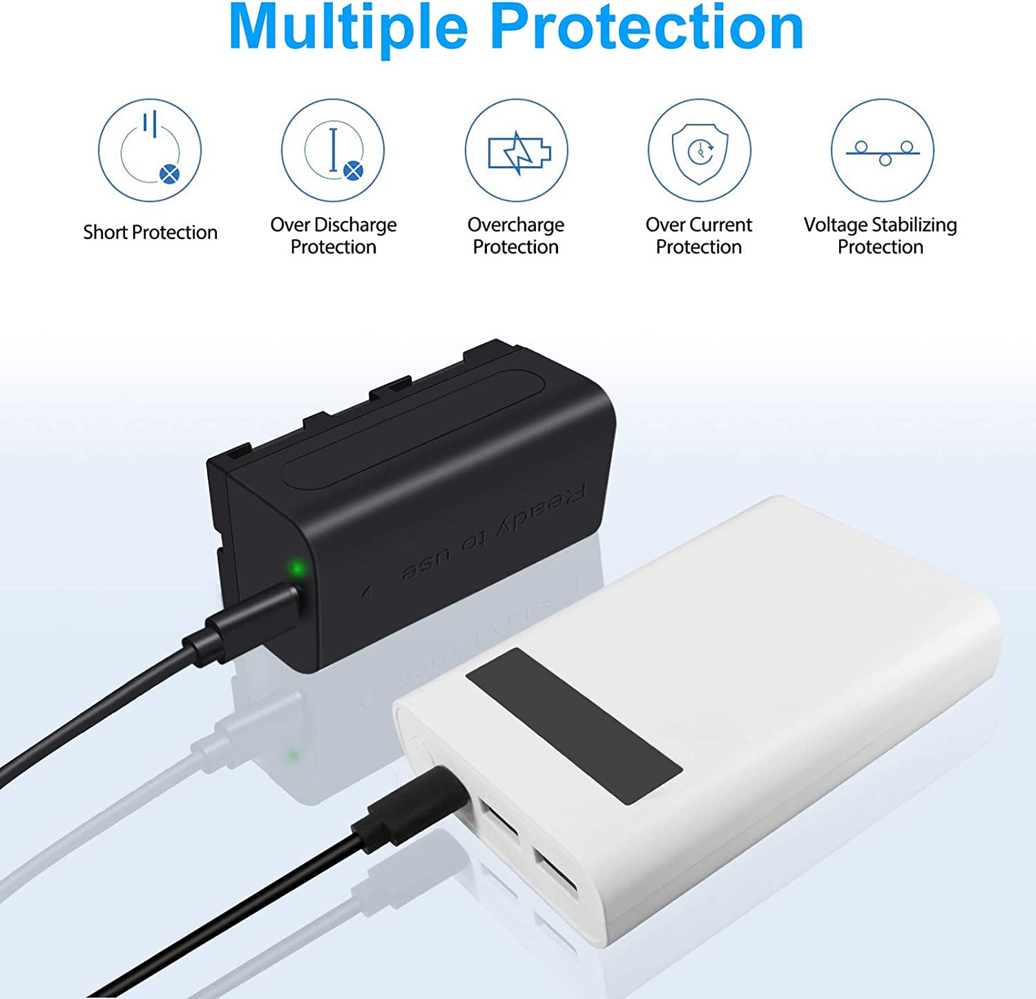 PALO NP-F550 NP-F570 NP-F530 NP-F330 Battery with Micro USB Charger Port for Sony CCD-RV100 CCD-RV200 CCD-SC5 CCD-SC6 CCD-SC55 CCD-SC65 CCD-TRV66 CCD-TRV67 DCM-M1 DCR-SC100 LED Video Light