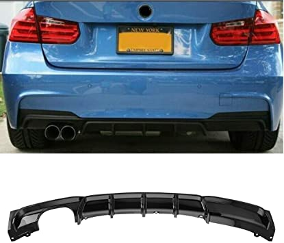 Gloss black FRP rear bumper diffuser for 3 series F30 MT style for M sport