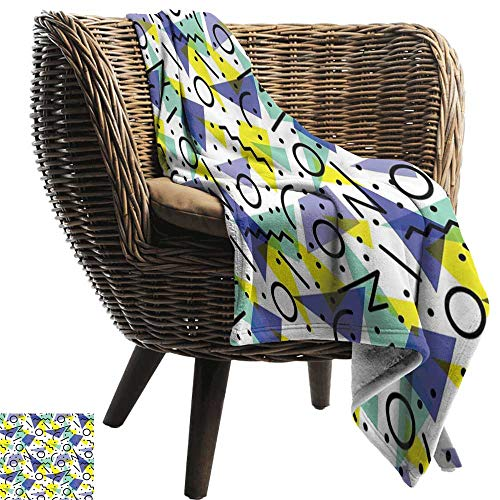 (BelleAckerman Baby Blanket,Modern,Geometrical Retro 80s Themed Image with Lines Circles and Spots Print,Blue Yellow and Black,Super Soft Light Weight Cozy Warm Plush Hypoallergenic Blanket 30
