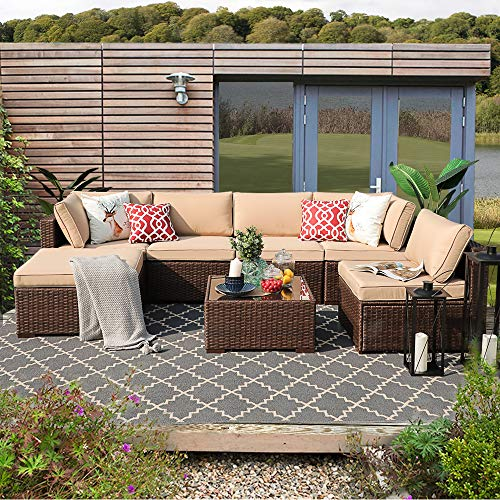 Patiorama Outdoor Furniture Sectional Sofa Set (7-Piece Set) All-Weather Brown PE Wicker with Beige Seat Cushions &Glass Coffee Table| Patio, Backyard, Pool| Steel Frame (Outdoor Sectional Furniture)