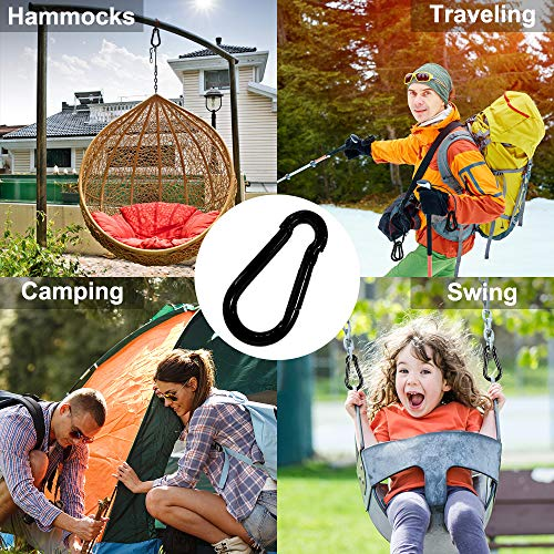 Rtudan 3 Inch Spring Snap Hook,Heavy Duty Carabiner Clip, Large Carabiner Clip Black Carbon Metal Snap Hook for Hiking Traveling Camping Fishing(Set of 4)