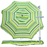 Snail 7 feet Vented Tilt Telescoping Aluminum Beach Umbrella w/Integrated Sand Anchor and Carry Bag, Portable Pool Sun Shade for Chairs, Yellow
