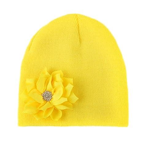 zhuotop recién nacido bebé invierno cálido sombrero infantil de flor ...