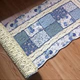 Ustide Rustic Flowers Area Carpet,Home Decor Cotton Blue Plaid Pattern Bedroom Floor Rugs,unique Quilted Washable Bathroom Rug 2x4