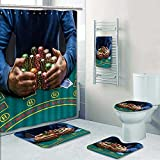 PRUNUSHOME 5-piece Bathroom Set-Includes Shower Curtain Liner,poker player tak poker chips after winn Print Bathroom Rugs Shower Curtain/Bath Towls Sets(Small)