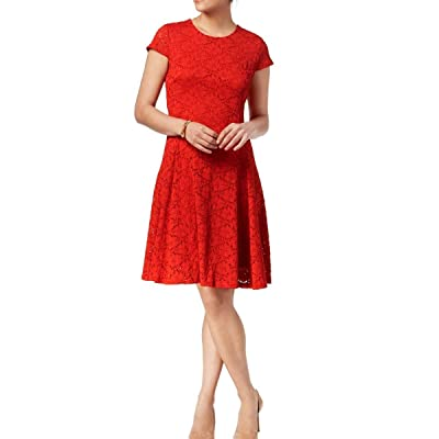 Alfani Womens Lace A-line Dress classicrust 8 at Amazon Women's Clothing store