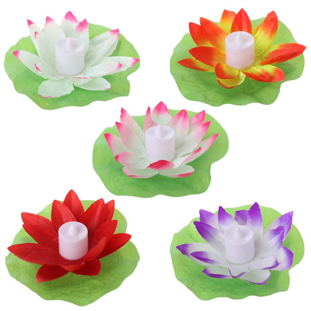 Abicial LED Floating Lotus Flower Lamps on Water Swimming Pool Garden Decoration Light