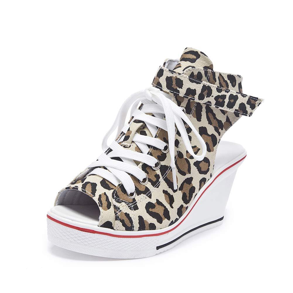 Leopard Print Sokaly Women's Canvas shoes Wedge Heeled Platform Sneaker Fashion Pump shoes