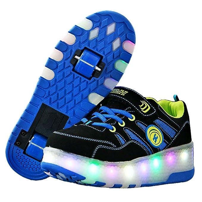 Recollect Unisex Niños LED Luz Flash Zapatos de Roller con 2 Ruedas Patines Al Aire Libre Gimnasia Zapatillas de Skateboard para Niñas: Amazon.es: Ropa y ...