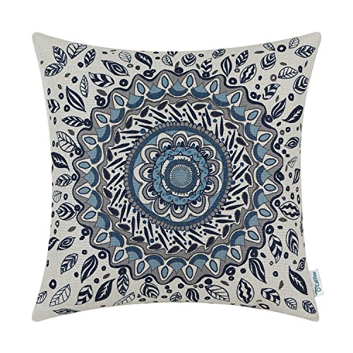 CaliTime Canvas Throw Pillow Cover Case Couch Sofa Home Decor Floral Compass Leaves Medallion 20 X 20 Inches Navy Blue