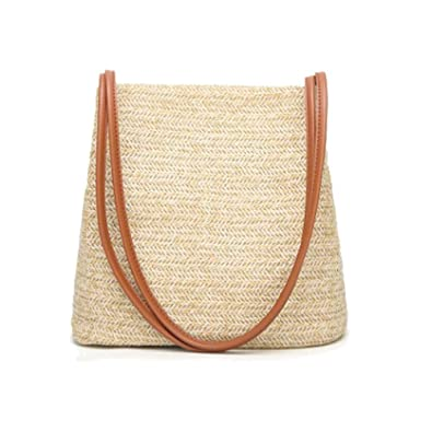 Amazon.com: Bolso de mano para mujer, tejido de paja, grande ...