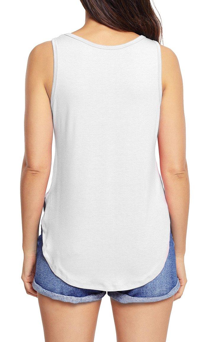 Grace Elbe Women's Loose Fit Side Slits Tank Tops White Medium by Grace Elbe (Image #3)