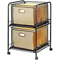 Halter Steel Mesh 2 Tier Rolling File Cart Bundle with 40 Hanging File Folders - Black
