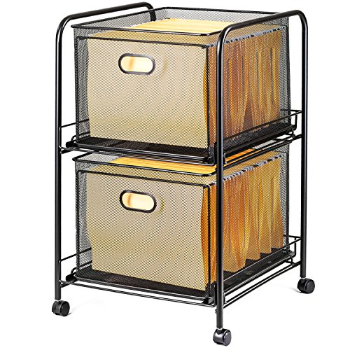 Halter Steel Mesh 2 Tier Rolling File Cart Bundle with 40 Hanging File Folders - (Mobile Hanging Folder)