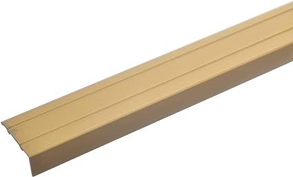 acerto 32013 Profil de nez de marche en aluminium Profil de nez de marche perfor/é pour stratifi/é Or * Hauteur 10mm* Antid/érapant * Protection de nez de marche robuste 100cm x 24,5mm PVC