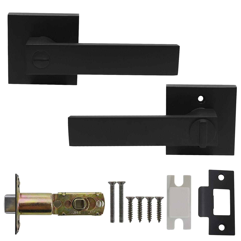 negro de color negro sin llave Pomos para puerta interior y mango de ba/ño de Probrico