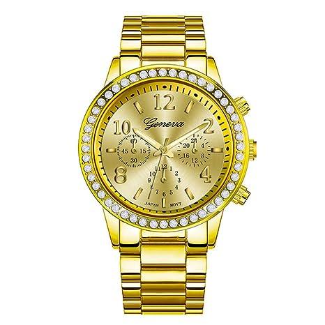 Sungpunet Reloj de Hombre, Chapado en, clásico, Redondo, Reloj de Cristal,