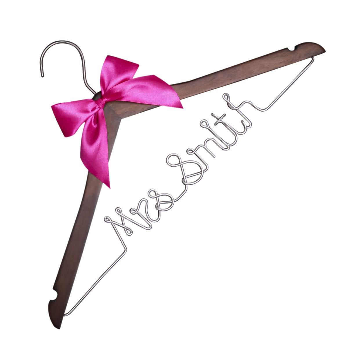 VVFOR Vintage Custom Date Wood Hanger for Bride and Bridesmaid Wedding Dress Hanger Wood Custom Name Date Wire Hanger etnecklace