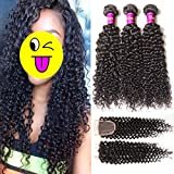 Unice Hair Brazilian Virgin Curly Hair 12 14 16inch +10inch Free Part Lace Closure (4''x4'') Unprocessed Virgin Brazilian Human Hair Extensions Natural Color
