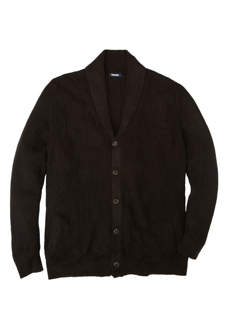 KingSize Men's Big & Tall Shaker Knit Shawl-Collar Cardigan Sweater, Black