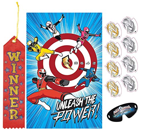 (Power Rangers Pin The Tail on The Donkey Style Party Game with Blindfold & Stickers! Plus 1st Place Winner Ribbon!)