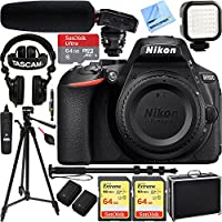 Nikon D5600 24.2 MP DX-Format Full HD 1080p DSLR Camera (Body Only) w/ Tascam DSLR Audio Recorder and Shotgun Microphone + 128GB & 64GB Pro Video Bundle